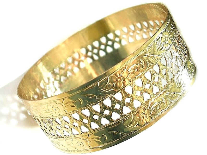 bd61003cc98 Floral gold bangle / Romantic hearts gold bangle/ 2.5inch Diameter/Genuine  1/20 -14k yellow gold filled/ Promise Hearts/ Bride gold bangles