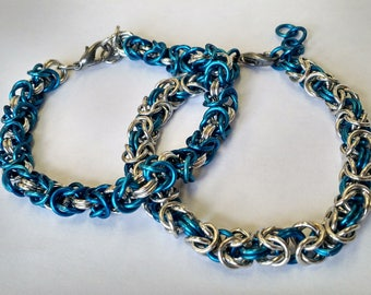 Blue and Silver Byzantine Chainmail Bracelet