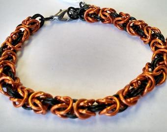 Orange and Black Byzantine Chainmail Bracelet