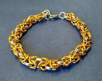 Gold and Silver Byzantine Chainmail Bracelet