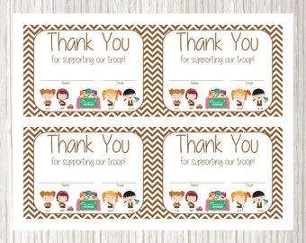 Girl Scout Cookie Sales Thank You Cards Girl Scout Thank You Etsy