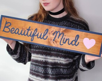 BEAUTIFUL MIND | Jon Bellion | Cottage Sign | Hand Painted Sign | Wooden Sign | Instagram Prop | All Time Low