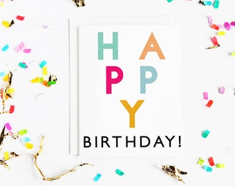 Happy Birthday Card   Blank inside   Colourful   Typography