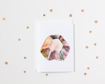 Watercolour Alexandrite Gemstone Blank Greeting Card