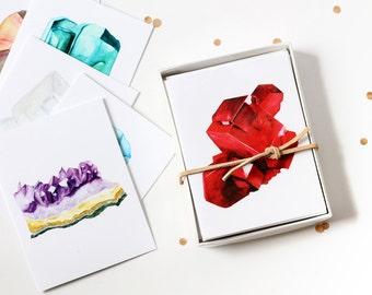 Watercolour Gemstone/Birthstone Greeting Card Box Set