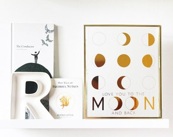 Love You to the Moon and Back Print | nursery | love | moon phases | gold foil | rose gold foil
