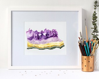 Watercolour Amethyst Gemstone 8x10 Art Print