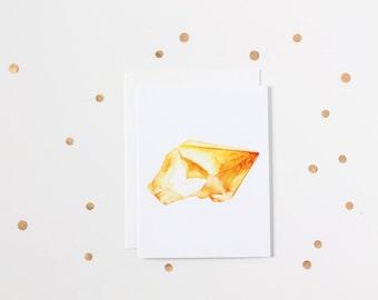 Watercolour Citrine Gemstone Blank Greeting Card