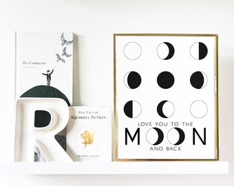 Love You to the Moon and Back Print | monochrome | black and white | nursery | love | moon phases | gold foil | minimalist