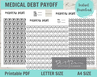 Medical Debt Payoff Tracker, Medical Debt Chart, Letter Size, A4