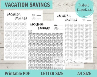 Vacation Savings Tracker, Vacation Savings Fund, Vacation Tracker, Instant Digital Download, A4, Standard Letter
