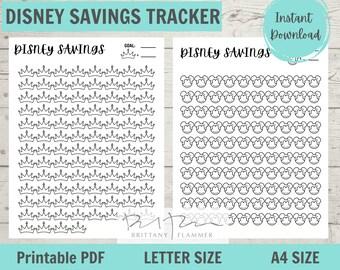 Printable Disney Vacation Trackable, Disneyland Savings, Disney World Savings, Printable Vacation Tracker, A4, Standard Letter Size
