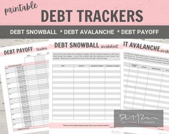 Printable Debt Payoff Tracker, Debt Snowball Worksheet, Debt Avalanche Worksheet