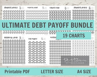 Printable Debt Payoff Bundle, Debt Payoff Charts, Letter Size, A4