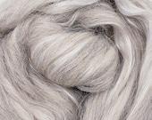 Grey alpaca/silk, 4 oz braid, combed top, roving, spinning fiber, 50/50 blend, baby alpaca, tussah silk