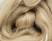 Fawn alpaca/silk, 4 oz braid, combed top, roving, spinning fiber, 50/50 blend, baby alpaca, tussah silk