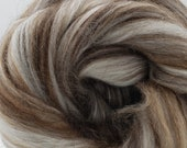 Merino/Brown Alpaca/Camel/Mulberry Silk, 4 oz braid, combed top, roving, spinning or felting fiber, luxury blend