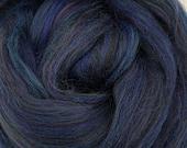 Ravens Feather, merino/bamboo blend, 23 micron, 4 oz braid, combed top, roving, spinning fiber, custom blend