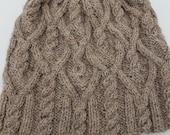 Cabled winter hat, hand knit, wool yarn, tan, brown, beanie, toboggan, cap, natural colors