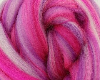 Bubblegum Factory Reject, 23 micron Merino, 4 oz braid, combed top, roving, spinning fiber, custom blend