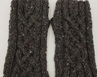 Cabled winter mitts, hand knit, wool tweed grey yarn, fingerless gloves, hand warmers, wrist warmers
