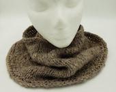 Wool cowl, hand spun yarn, hand knit, natural colored corriedale yarn