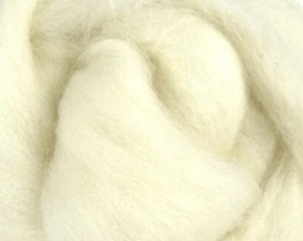1 lb White Polwarth combed top, roving, spinning fiber, felting fiber, by the pound