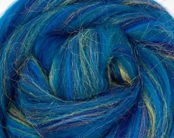 Peacock Corriedale/Nylon combed top, 4 ozs, roving, spinning fiber,