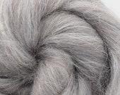 Grey Alpaca/Merino, 4 oz braid, combed top, roving, hand spinning fiber