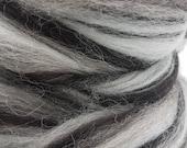 1 lb Jacob black and white combed top, tonal, blended, variegated, humbug, roving, spinning fiber, felting fiber, fiber, by the pound