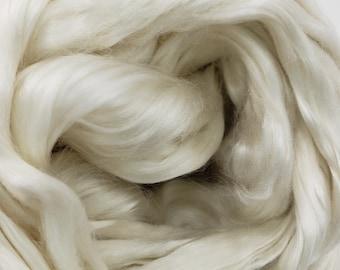 1 oz Mulberry Silk, grade A, spinning fiber, roving, combed top, hypoallergenic, luxury fiber, paper making, natural color, blending fiber