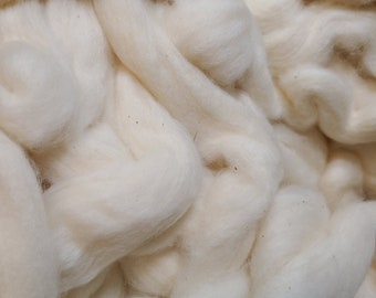 4 oz Acala Cotton, Easy to Spin, combed top, roving, spinning fiber, natural color plant fiber, vegan, 4 oz braid, earth friendly, white