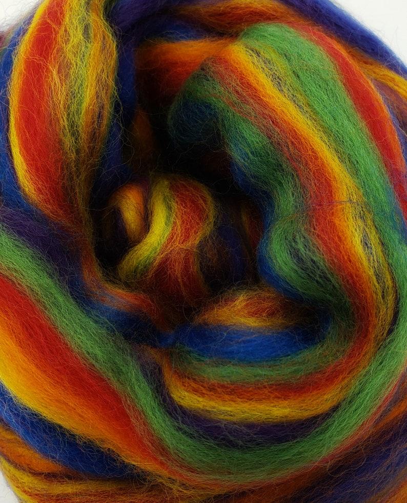 Rainbow 23 micron merino 4 oz braid combed top roving image 0