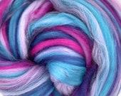 Bubblegum Merino, 4 oz braid, combed top, roving, spinning or felting fiber, custom blend
