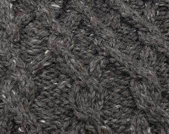Cabled winter hat, hand knit, wool tweed grey yarn, beanie, toboggan, cap, natural colors