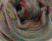 Twisted Spinners, grey merino and sari silk blend, 4 oz braid, combed top, roving, spinning fiber