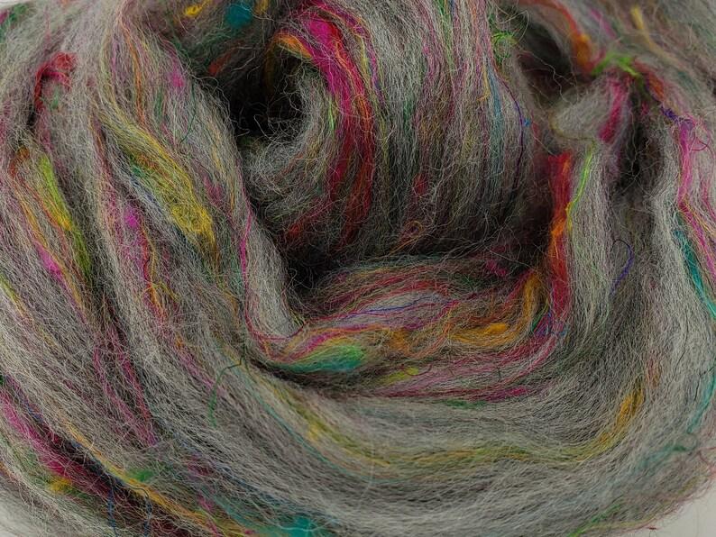 Twisted Spinners grey merino and sari silk blend 4 oz braid image 0