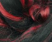 Black Widow, merino/bamboo blend, 23 micron, 4 oz braid, combed top, roving, spinning fiber, custom blend