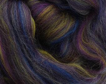 Stars in the Night, 23 micron merino, 4 oz braid, combed top, roving, spinning fiber, custom blend
