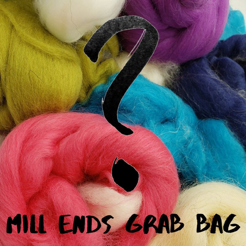 4 oz Mill Ends grab bag wool spinning fiber combed top image 0