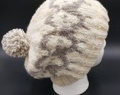Sheep winter hat, hand knit, hand spun yarn, grey and white hat, beanie, toboggan, cap, natural colors, slouch hat