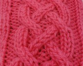 Pink cabled winter mitts, hand knit, wool  yarn, fingerless gloves, hand warmers, wrist warmers