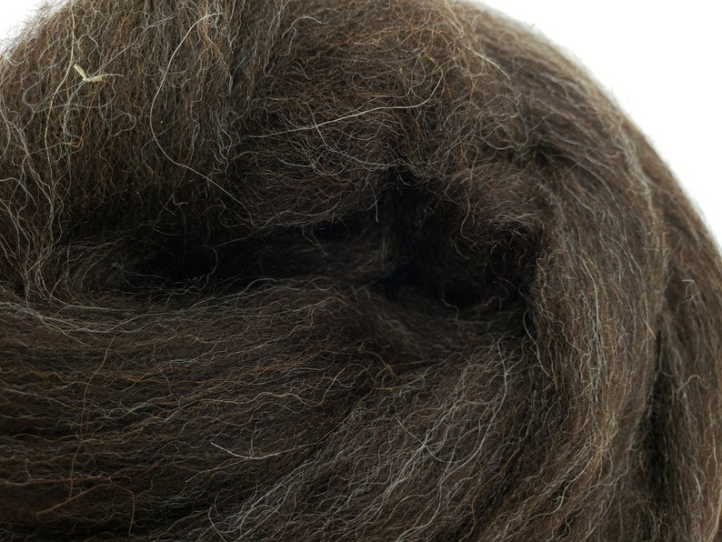 1 lb Black Shetland combed top roving spinning fiber image 0