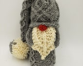 Flint the grey gnome, holiday decorations, hand knit, winter, plush toy, stocking stuffer, mantle decoration