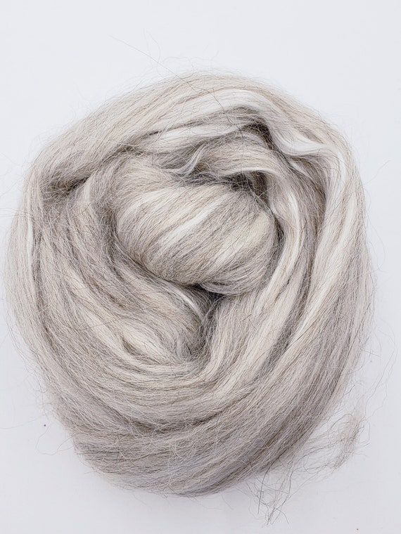 roving spinning fiber 4 oz braid Twisted Spinners combed top grey merino and sari silk blend