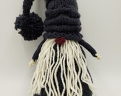Slate the grey gnome, holiday decorations, hand knit, winter, plush toy, stocking stuffer, mantle decoration, tomte, nisse