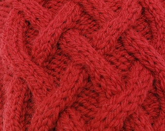 Cabled winter mitts, hand knit, wool, red, fingerless gloves, hand warmers, wrist warmers