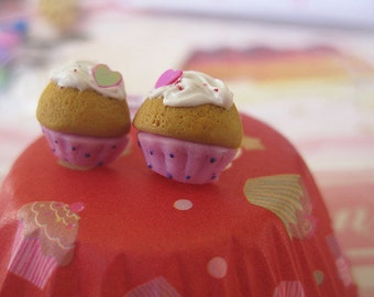 Polka Dot mini Cupcakes Stud Earrings _ Polymer Clay _ Foodie Gift _ Food Jewelry _ Cupcake Collection