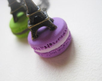 French Macaron Necklace with Antique Eiffel Tower _ 1/12 Dollhouse Scale Miniature Food _ Polymer Clay _ Foodie Gift