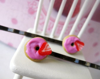 Strawberry Donut Bobby Pins _ 1/12 Dollhouse Scale Miniature Food _ Polymer Clay _ Foodie Gift _ Donut Collection